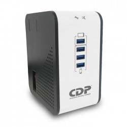 Regulador de voltaje de 1000 VA. Con 8 NEMA 5-15, cable de 4 pies, proteccion coaxial, puertos USB - Imagen 1