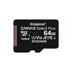 Memoria MicroSD Kingston 64GB Con Adaptador Canvas Clase 10