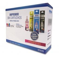 Kit Botella De Tinta Epson 664 Negra Cyan Magenta Amarilla + Papel Glossy 20 Hojas